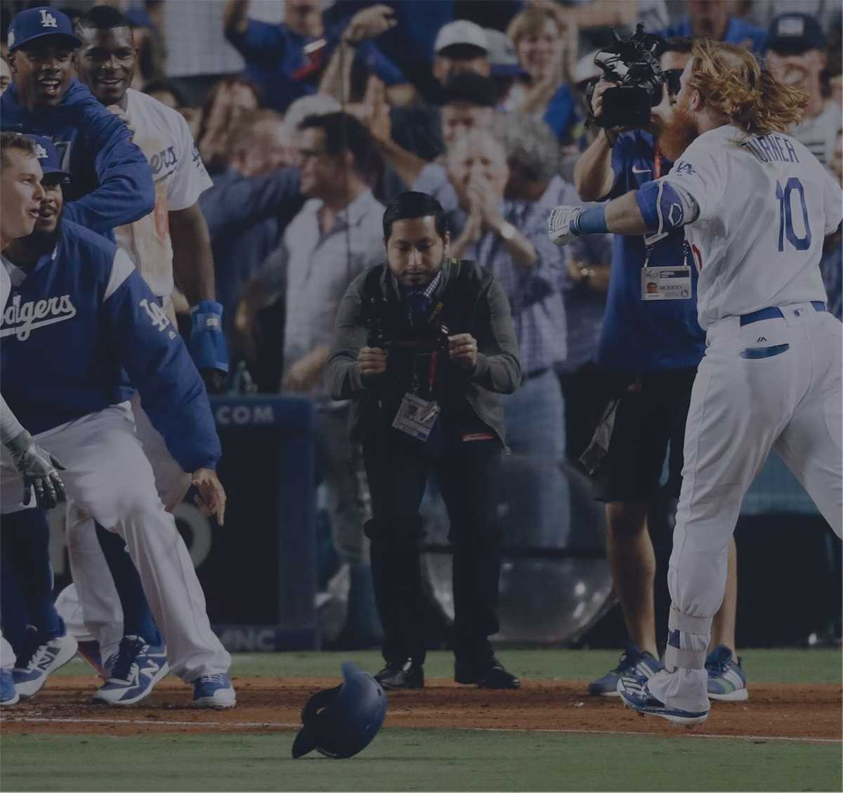 Matthew Mesa filming Los Angeles Dodgers' Justin Turner's walk-off home run in the 2017 NLCS vs. Chicago Cubs